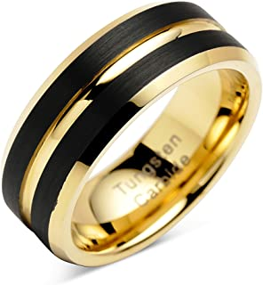 100S JEWELRY Engraved Personalized Tungsten Rings for Mens Wedding Bands Black Matte Gold Grooved Center Size 6-16