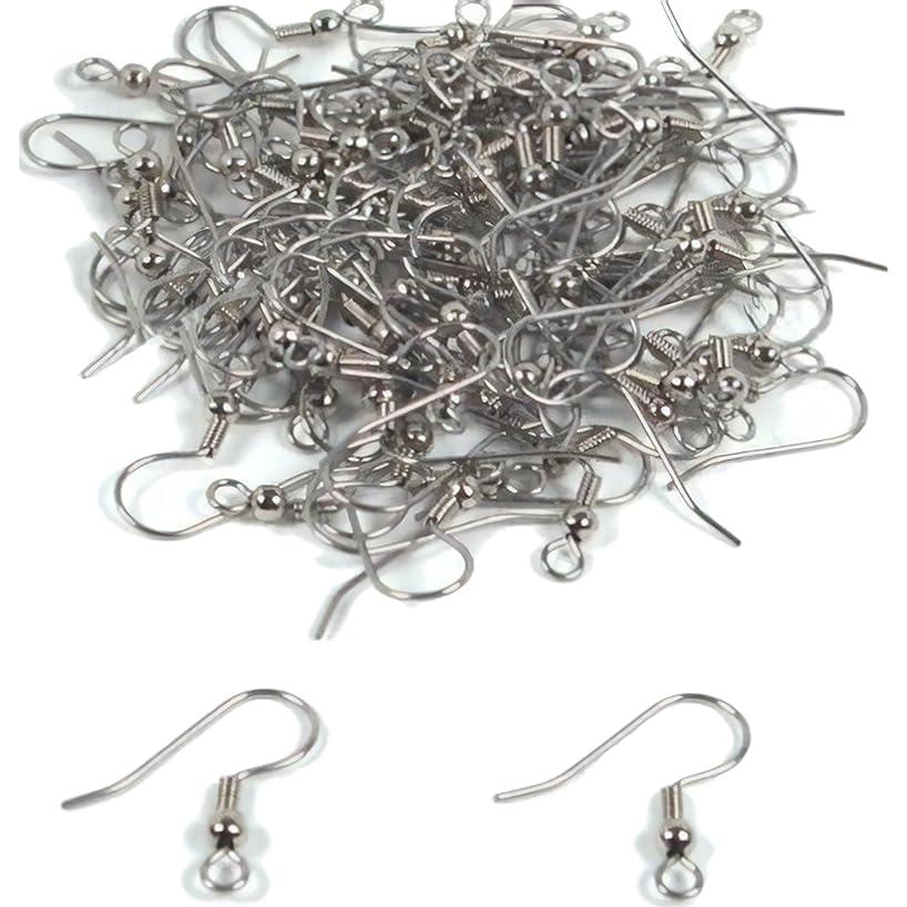 100 Fish Hook Earring Wires Rhodium Wrap Ball 22 Gauge