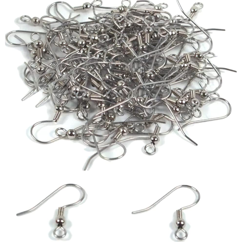 100 Fish Hook Earring Wires Rhodium Wrap Ball 22 Gauge