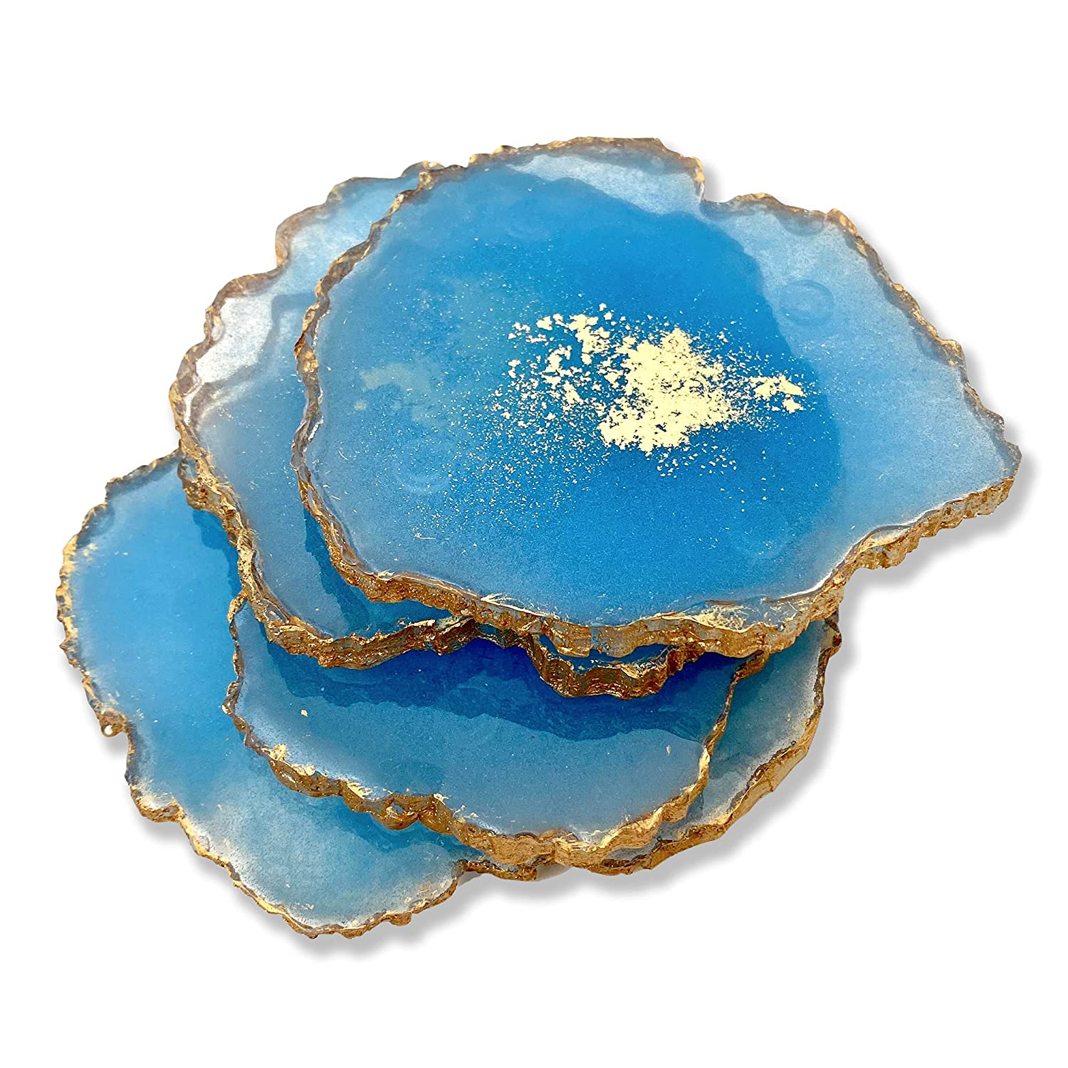 Geode Popular shaped resin Coasters set faux of coasters 4 agate Inexpensive