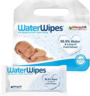 WaterWipes Fragrance Free Newborn Sensitive Baby Wipes 240 Count Value Pack (Pack of 4)