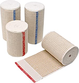 GT | Organic USA Cotton Elastic Bandage | Set of Two 4 inch Wraps & Two 3 inch Wraps | Hook & Loop Closures Both Ends