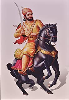 Shivaji Maharaj On Horse Texture Painting Print Photo Without Frame (20 X 28 Inches)