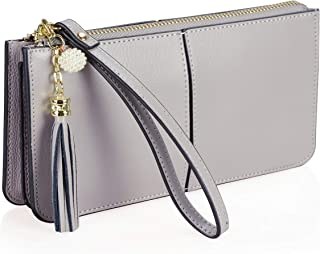FERRISA Women's Leather Small Wristlet Purses, Smartphone Wallets Clutch Purse with Card Holder
