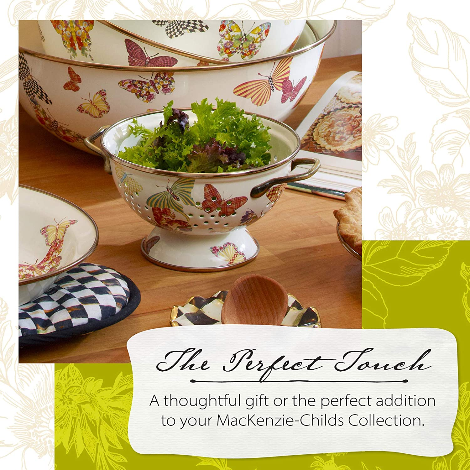 Buy Mackenzie Childs Butterfly Garden Enamel Colander Decorative Kitchen Strainer Small 6 25 Dia 3 5 Tall 1 Qt Capacity Online In Taiwan B07ny9lft8