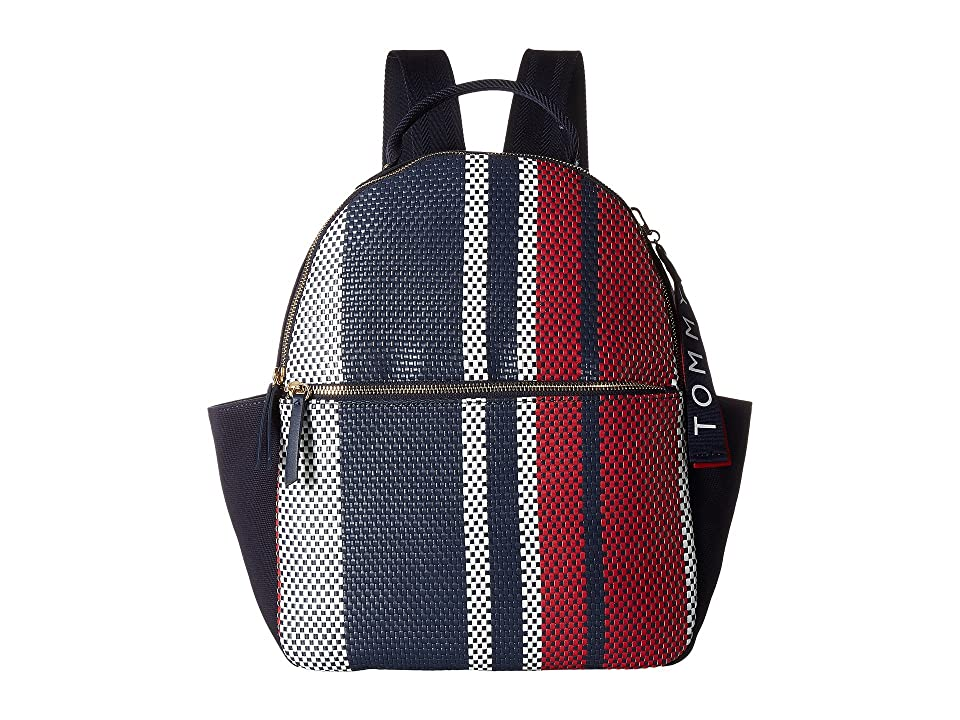 Tommy Hilfiger Classic Tommy Woven PVC Dome Backpack (Navy/Multi) Backpack Bags