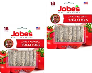 Jobe's Tomato Fertilizer Spikes, 6-18-6 Time Release Fertilizer for All Tomato Plants, 18 Spikes per Blister, Pack of 2 Blisters