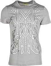 Versace Jeans Men's Gray Silver Metallic Print Cotton T-Shirt
