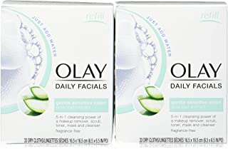 Olay Daily Gentle Clean 5-in-1 Water Activated Cloths with Vitamin E for Younger Looking Skin, 33 Ea (Pack of 2)