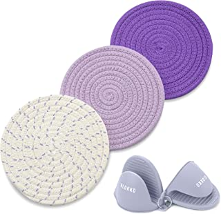BLOKKD Trivets for Hot Pots and Pans with Silicone Pot Holders (Set of 5). 100% Cotton Hot Pads and Oven Mitts Sets, Hot P...