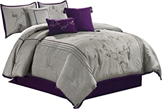 Chezmoi Collection Miki 7-Piece Luxury Purple Cherry Blossoms Floral Embroidery Bedding Comforter Set Queen Size