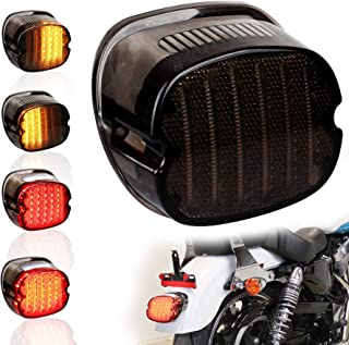 PXPART Harley LED Tail Light Smoked Lay Down Type Rear Brake Turn Signal Light with License Plate Light for Sportster Dyna Road King Electra Glides FLST Super Glides Street Bob
