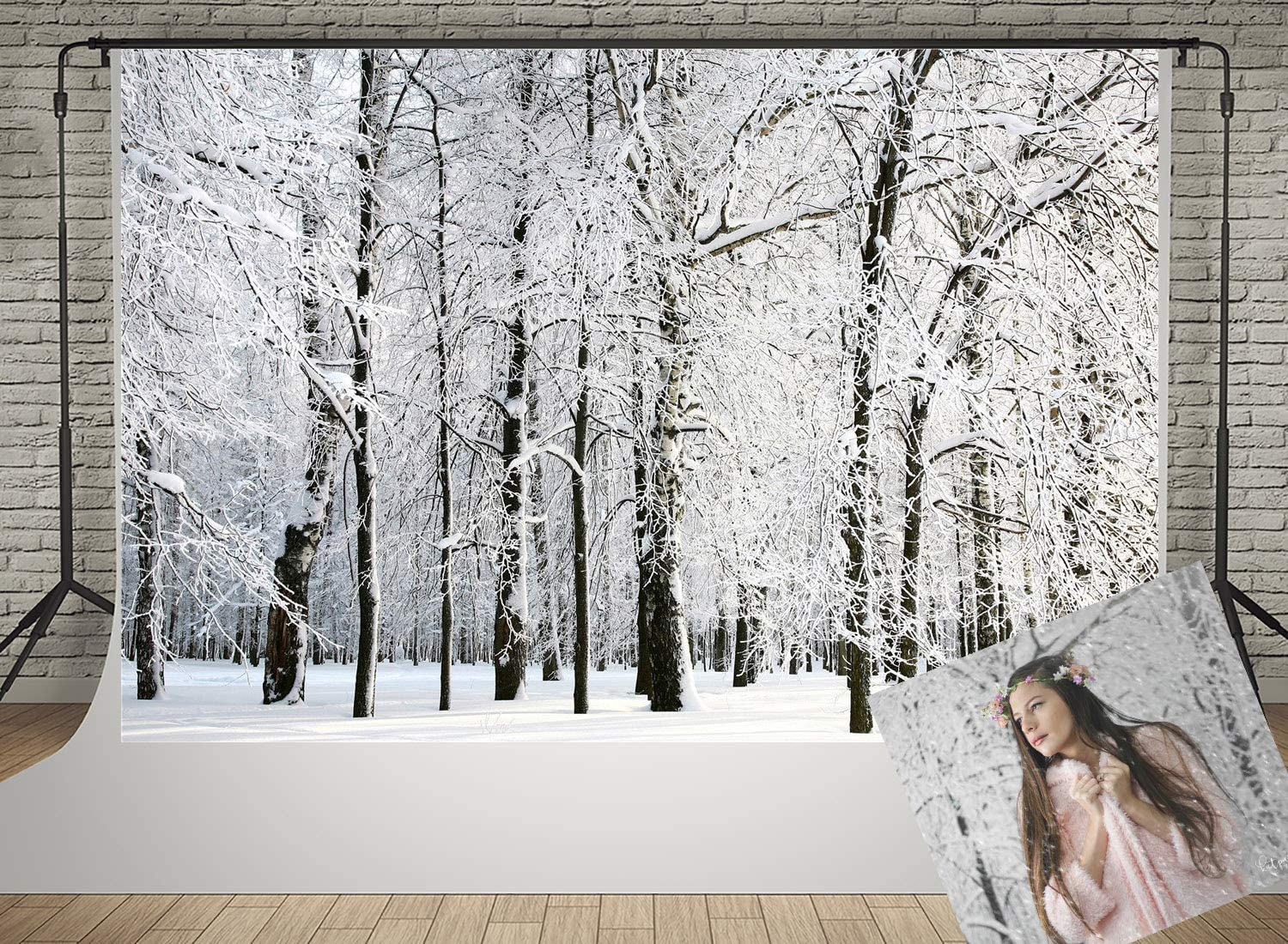 Winter Background for Photography White Frozen Snow Backdrops Forest Tree Photo Backdrop 20x10ft