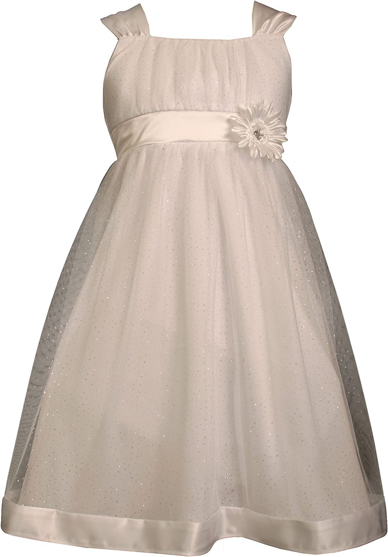 Bonnie Jean Big Girls' White Sparkle Mesh Dress
