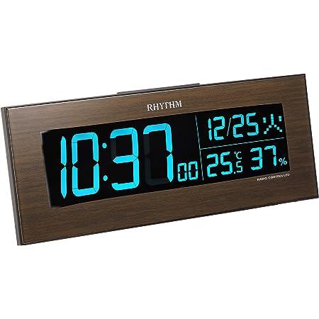 リズム(RHYTHM) 目覚まし時計 電波 デジタル Iroria イロリアW グラデーション LED 365色 表示 茶 RHYTHM 8RZ180SR06