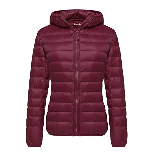 de2e5529c4ef Wantdo Women s Hooded Packable Ultra Light Weight Short Down Jacket