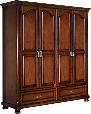 KELINSHENG Brown Solid Wood Wardrobe 4 Door 2 Drawers Wardrobe Locker Wardrobe Bedroom Clothes Wooden Furniture