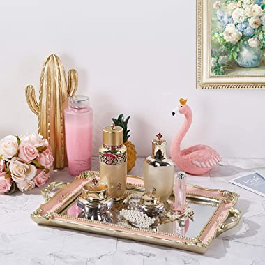 SAIDEKAI Mirrored Tray, Decorative Antique Vanity Tray, Perfume Organizer, Makeup Organizer, Jewelry Dresser Organizer and Di