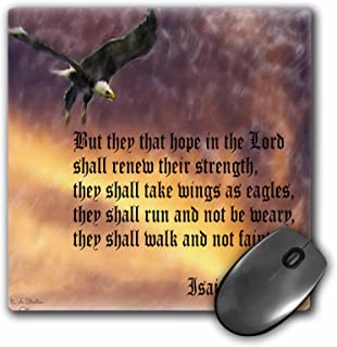 3dRose LLC 8 X 8 X 0.25 Inches Isaiah 40-31 Bible Verse with Eagle Against a Troubled Sky Mouse Pad (mp_27419_1)