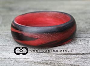 Men's or Women's Carbon Fiber Red/Orange Marbled Glow Ring - Handcrafted - Black and Red Glowing Band - Custom Band widths