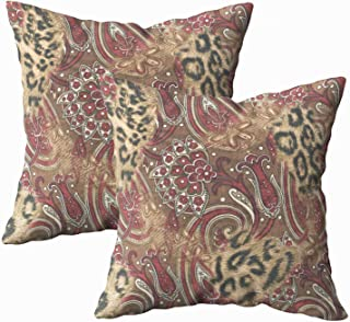Musesh Pack of 2 leopard paisley pattern print Cushions Case Throw Pillow Cover Sofa Home Decorative Pillowslip Gift Ideas Household Pillowcase Zippered Pillow Covers 20X20Inch