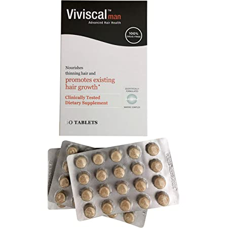 Viviscal Men's Hair Growth Supplements for Thicker, Fuller Hair | Clinically Proven with Proprietary Collagen Complex | 60 Tablets - 1 Month Supply