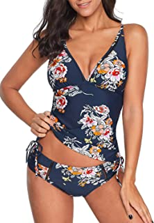 ACKKIA Women's Printed Wrap V Neck Tankini Set Bathing Suit Two Pieces Swimsuit