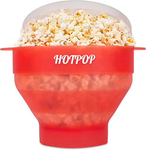 The Original Hotpop Microwave Popcorn Popper, Silicone Popcorn Maker, Collapsible Bowl Bpa Free and Dishwasher Safe -...