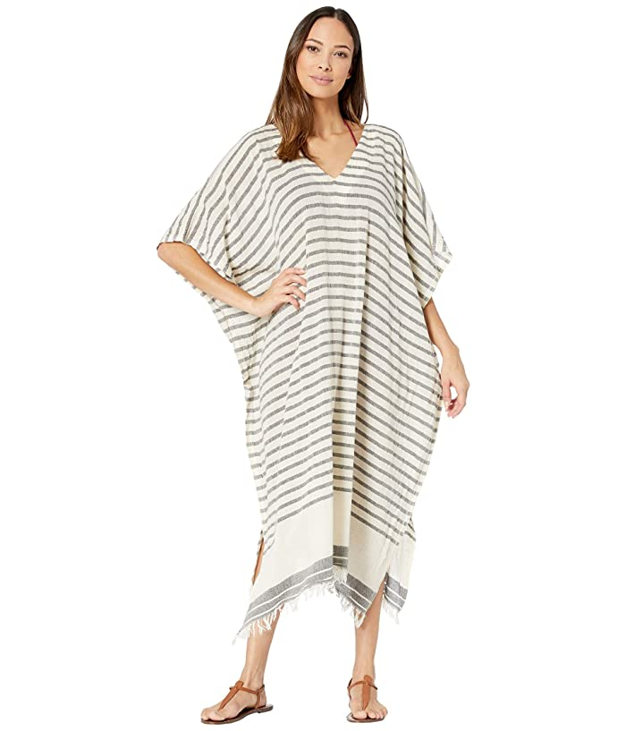 Hat Attack  Avery Kaftan Cover-Up (Cream/Black Stripe) Womens Swimwear
