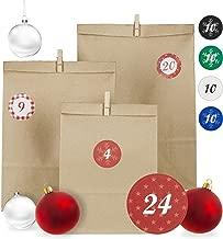 Relaxdays Adventskalender, 24 Papiertüten in 3 Größen, rote Zahlensticker, Holzklammern, DIY Weihnachtskalender, braun