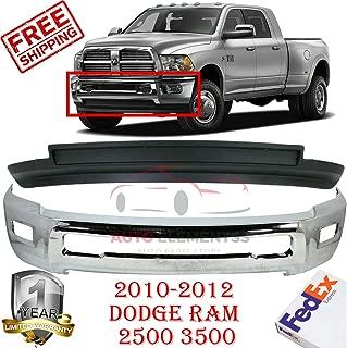 Front Bumper for 2010-2012 Dodge Ram 2500 3500 4WD Lower Valance Laramie/Outdoorsman/SLT/TRX/SXT Air Dam W/fog Hole Chrome Direct Replacement Set of 2 CH1002390 CH1090141