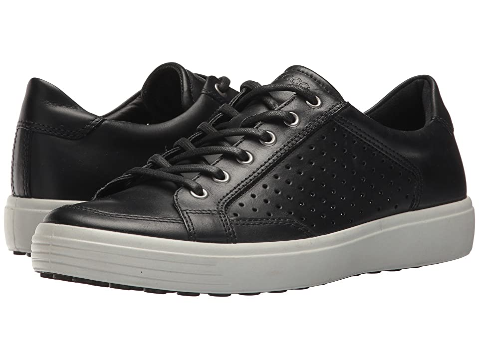 Minimalist urban style meets ultimate comfort in the versatile ECCO Soft 7 Retro Tie! Crafted from ECCO's nubuck leather uppers that ensure long-lasting style and maximum durability. Perforated front detailing adds a touch of summer style. Lace-up closure for a secure fit. Leather-covered inlay sole with ECCO Comfort Fibre System helps keep footwear fresh and dry. Feel free to remove the inlay sole if you need any extra width. ECCO FLUIDFORM Technology ensures excellent cushioning and perfect rebound with every step. A foot-fitted last shape ensures the perfect fit every time. Imported. Measurements: Weight: 14 oz Product measurements were taken using size 45 (US Men's 11-11.5)  width M. Please note that measurements may vary by size. Weight of footwear is based on a single item  not a pair.