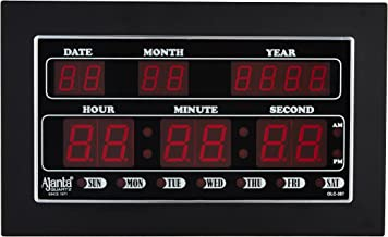 Ajanta Quartz Digital Red LED Rectangle Wall Clock OLC - 307 (34 cm x 20 cm x 4 cm)