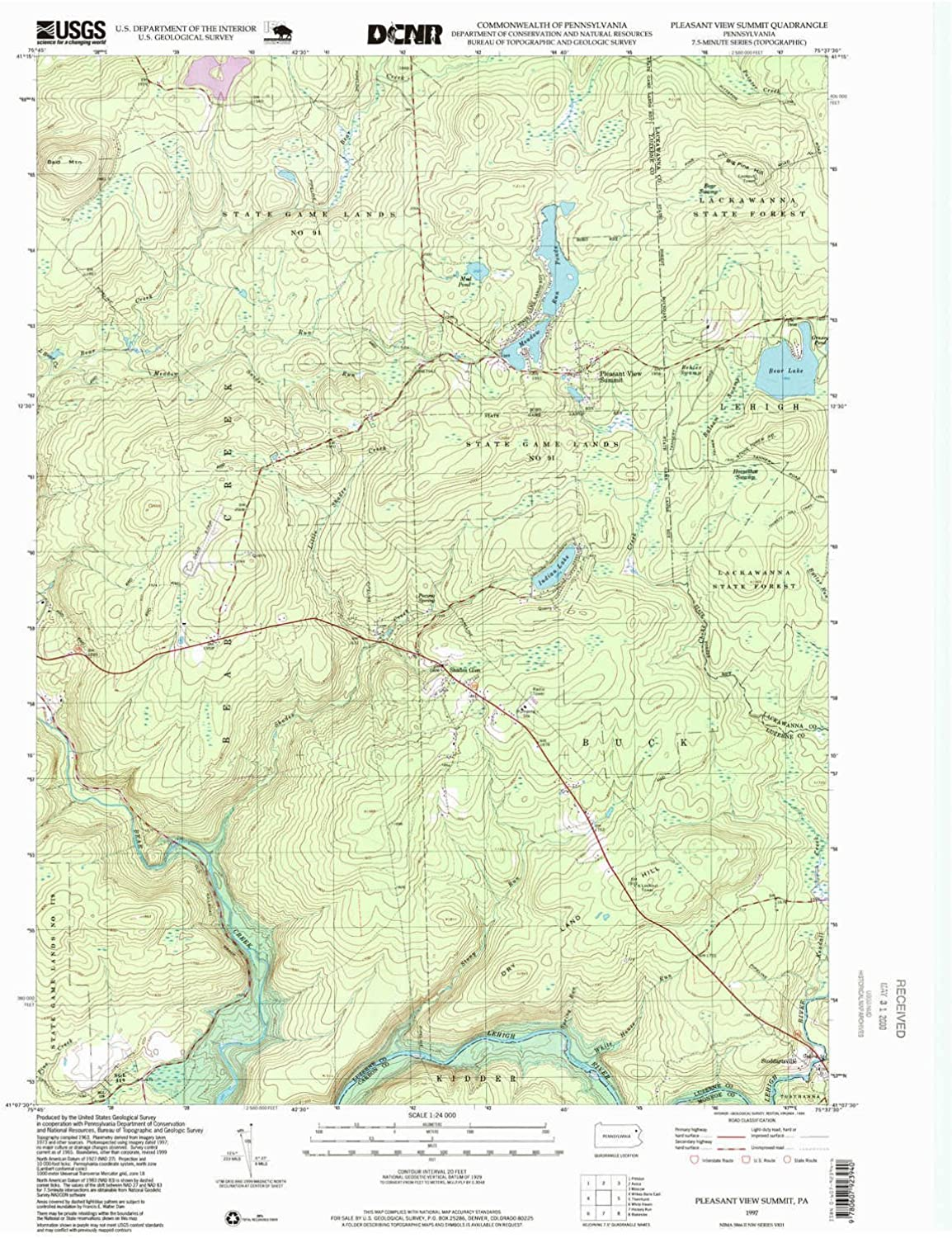 Pleasant View Summit PA topo map, 1 24000 Scale, 7.5 X 7.5 Minute, Historical, 1997, Updated 1999, 26.8 x 22 in