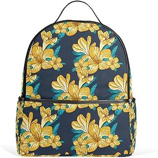 DragonSwordlinsu Coosun Schulrucksack mit gelbem Blumenmuster, Marineblau, leicht, Segeltuch, für Jungen und Mädchen