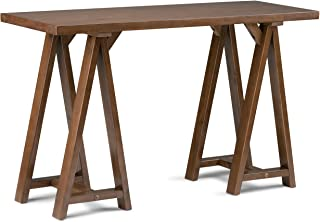 Simpli Home Sawhorse SOLID WOOD 50 inch Wide Modern Industrial Console Sofa Entryway Table in Medium Saddle Brown, for the Living Room, Entryway and Bedroom