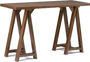 Simpli Home Sawhorse Solid Wood Console Sofa Table, Medium Saddle Brown
