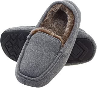 Sponsored Ad - FLYFUPPY Boys Moccasin Slippers Winter Warm Anti-Slip Fur Lining Indoor Slippers for Boys Outdoor House Sli...