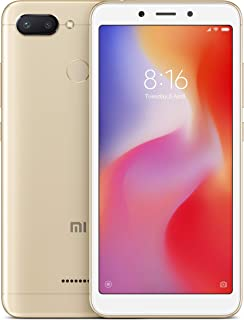 Xiaomi Redmi 6 - (Dual SIM) 32GB 5.45-Inch Android 8.1, MIUI 9 UK Version SIM-Free Smartphone - Gold (Official UK Launch)