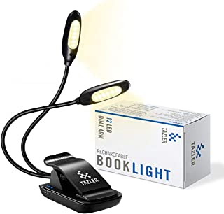 TAZLER 12 LED Rechargeable Dual Arm Book Light, 3 Brightness Levels, Warm Light, 2 Flexible Arms