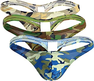 TESOON Mens Camo Sexy Thong Underwear Low Rise Bulge Pouch Briefs