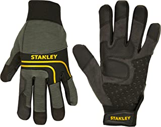 Stanley Synthetic Leather Multi-Purpose Work Gloves with Silicone Dotting and PVC Reinforcements - Medium - Black