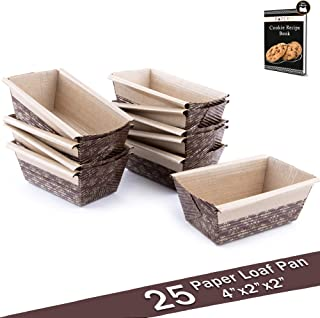 "Paper Loaf Pan, Disposable Paper Baking Loft Mold 25ct, All Natural FDA Approved, Recyclable, Microwave Oven Freezer Safe, Providing Beautiful Display For Baked Goods 4""x2""x2"""