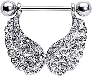 Body Candy Stainless Steel Clear Wings of an Angel Dangle Nipple Ring Set of 2