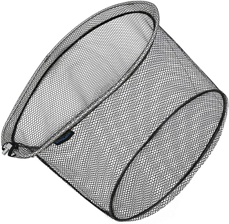 Portable Fishing Net Collapsible Rubberized Nylon Mesh Hole 8  8Mm Depth Aluminium Frame Ring Folding Fishing Landing Dip Net