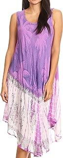Sakkas Farzana Women Sleeveless Summer Caftan Midi Dress Tie-dye Light and Fresh