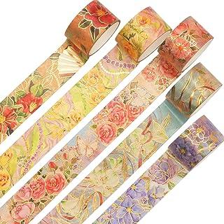 YUBX Or Washi Tape Set Ruban Adhésif Papier Décoratif Feuille VSCO Masking Tape pour Scrapbooking Artisanat de Bricolage (...