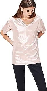 Marca Amazon - find. Camiseta Extralarga con Cuello de Pico