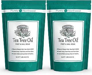 Tea Tree Oil Foot Soak With Epsom Salt, Helps Soak Toenail Fungus, Athletes Foot & Stubborn Foot Odor – Softens Calluses & Soothes Sore Tired Feet -16oz (Pack of 2)