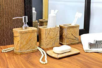 KLEO - Bathroom Accessory Set Made from Natural Brown Stone - Bath Accessories Set of 4 Includes Soap Dispenser, Toothbrus...